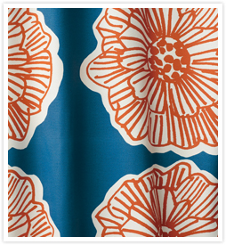 北欧デザインカーテン フラワーダークブルー