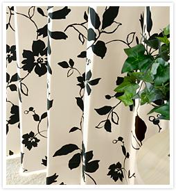 北欧デザインカーテン UNガーデンブラック