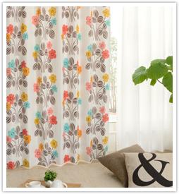 北欧デザインカーテン レトロフラワーブラウン