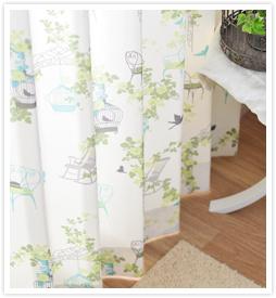大人の花柄カーテン セシリアグリーン