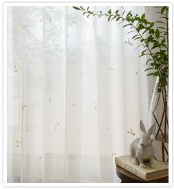 大人の花柄カーテン ボイルマーガレットホワイト