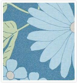 大人の花柄カーテン のばなブルー