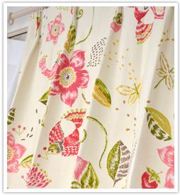 大人の花柄カーテン スモールバードピンク