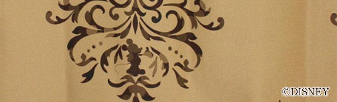 ディズニー・ミッキーマウス 1級・2級遮光カーテン クレスト 生地アップ1