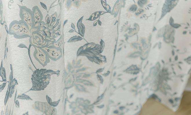 アンティーク ヨーロピアン・トラッド花柄シェニール織風カーテン ビルネ
